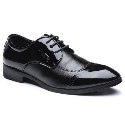 Men Shining Upper Material Fashion Lace Up Leather Shoes - HEISE 40