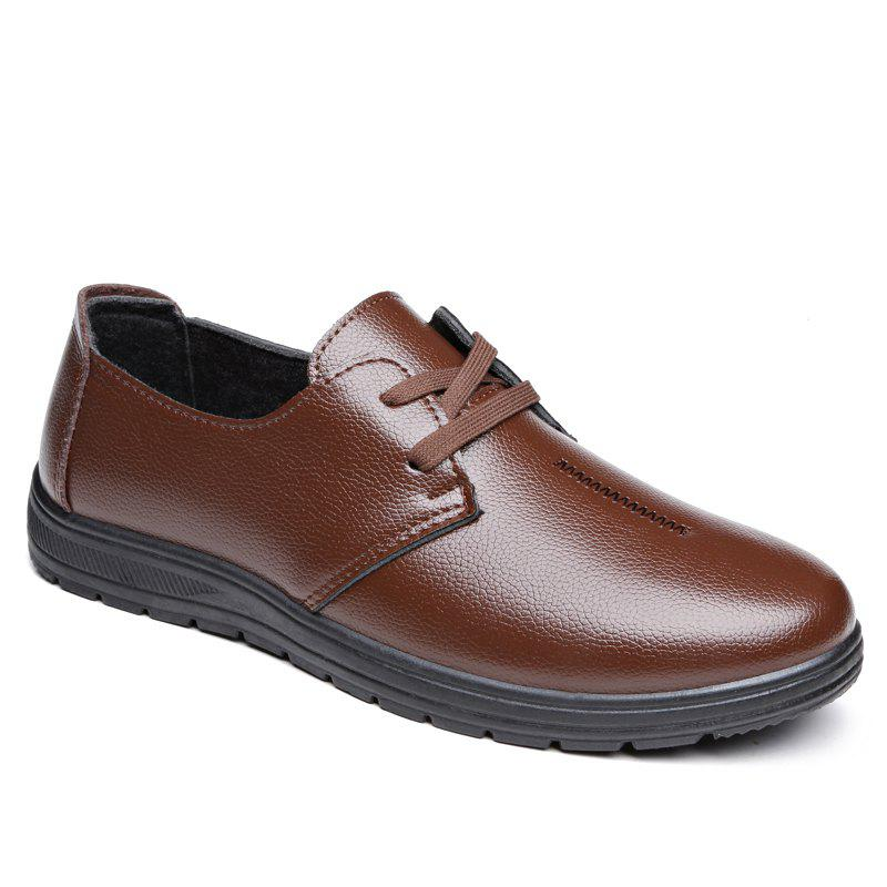 Men Winter Warm Leather Shoes - BROWN 40