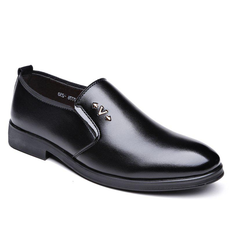 Men Soft Solid Leather Shoes - BLACK 40