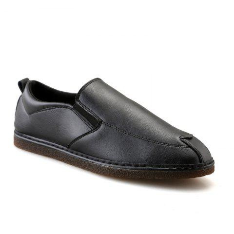 Casual Fashion Slip on Solid Leather Shoes - BLACK 40