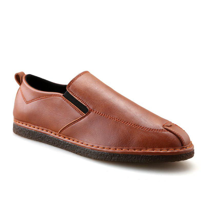 Casual Fashion Slip on Solid Leather Shoes - BROWN 40