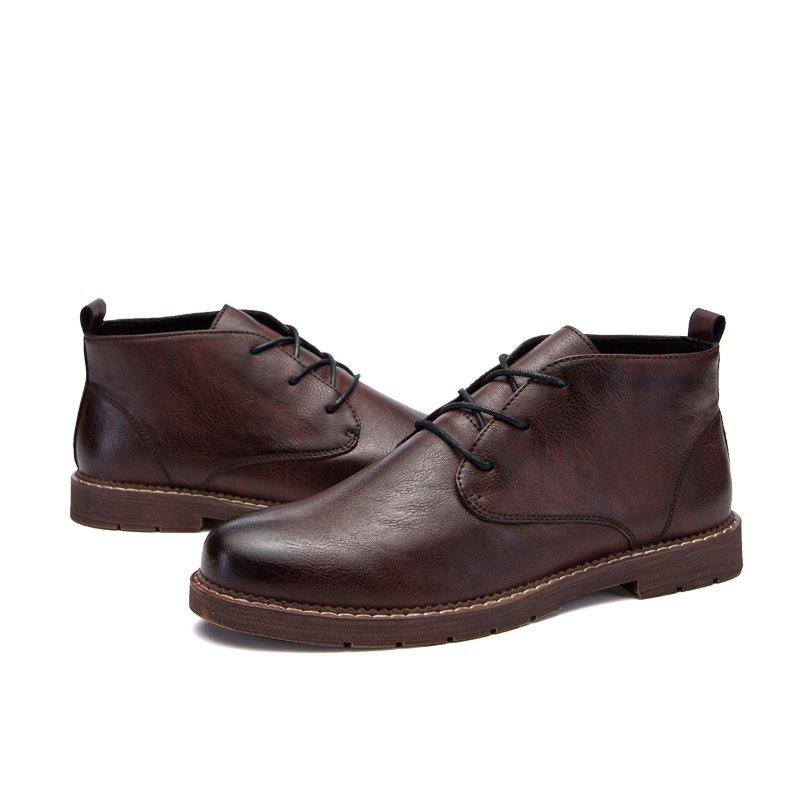 British Middle Vamp Fashion Leather Shoes - BROWN 40