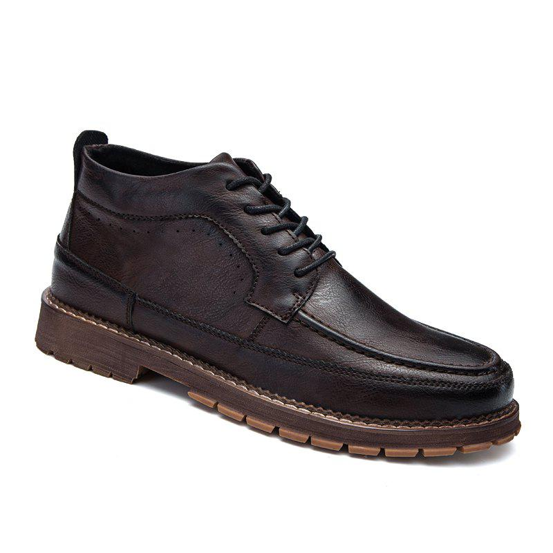 British Men Leisure Middle Vamp Leather Shoes - BROWN 40