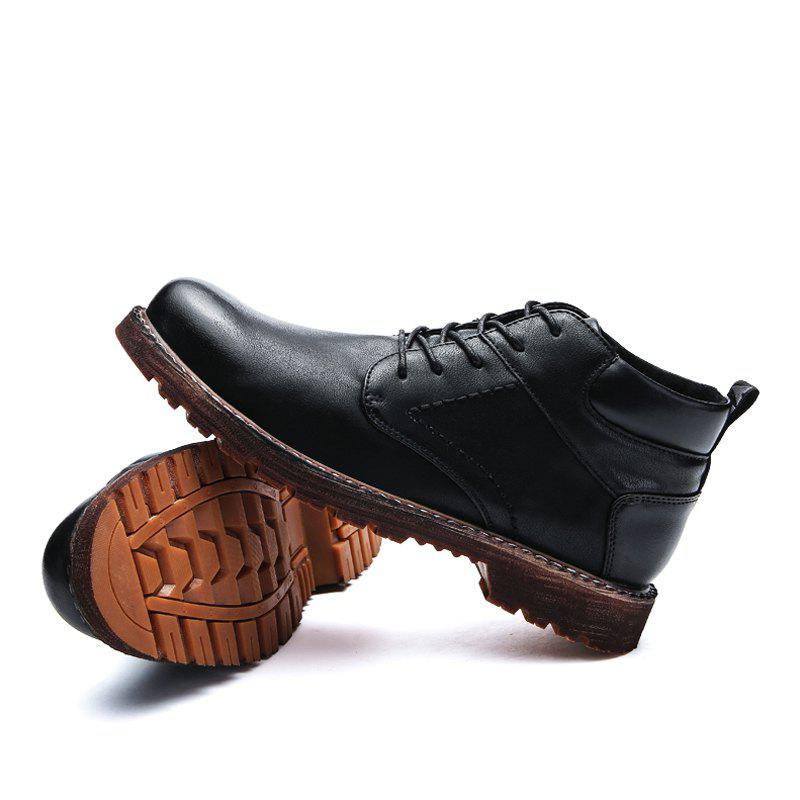 Men Middle Vamp British Leisure Leather Shoes - BLACK 40