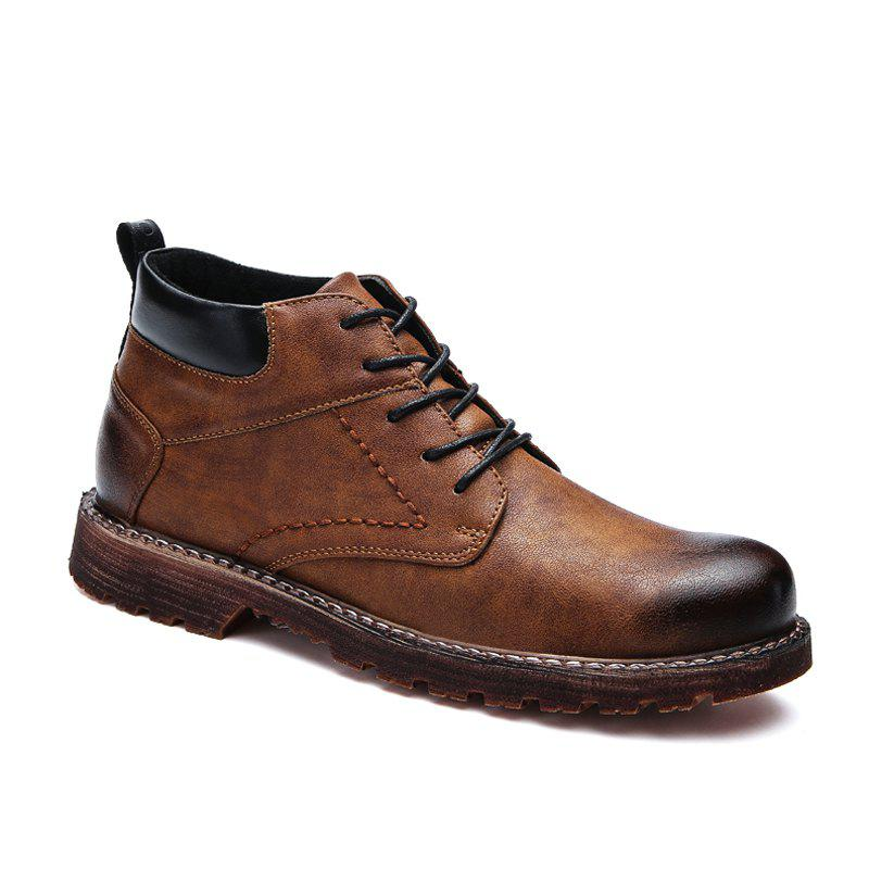 Men Middle Vamp British Leisure Leather Shoes - BROWN 40