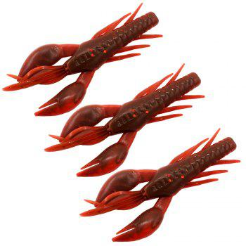 HONOREAL 7.5CM Shrimp Shape Soft Bait Fishing Lure 3PCS - RED WITH BLACK RED/BLACK