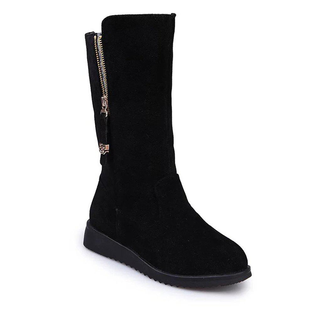 YYO1 Women Fashion with Zipper Martin Black Biker Boots Low Heel