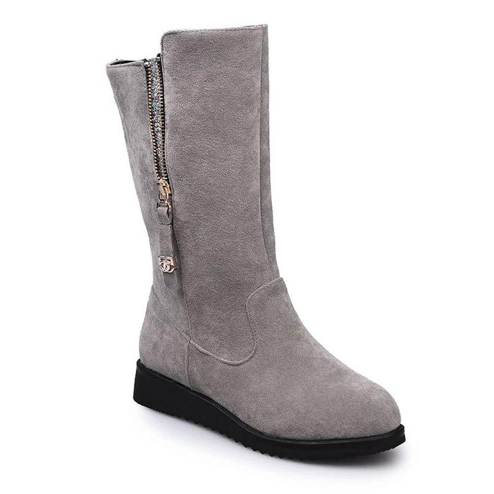 YYO1 Women Fashion with Zipper Martin Black Biker Boots Low Heel - GRAY 37