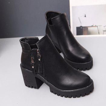 Women Fashion PU Ankle Sexy Boots Waterproof Block High Heel Martin Shoes - BLACK 39