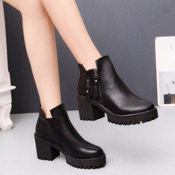 Women Fashion PU Ankle Sexy Boots Waterproof Block High Heel Martin Shoes - BLACK 36
