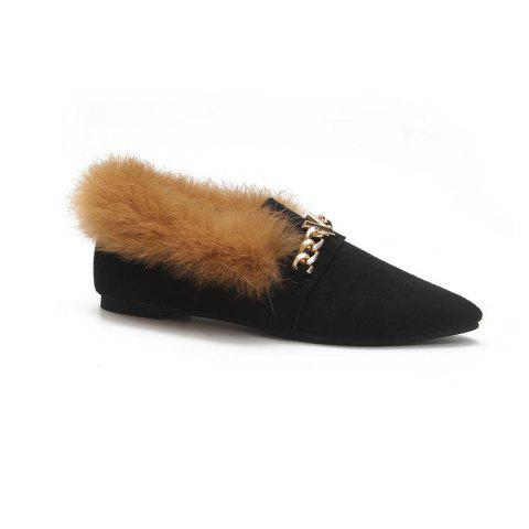 YYO17 Women Romen Single Casual Sexy Feather Holiday Beach Shoes low Heel - BLACK 38