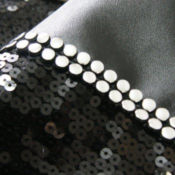 Lmdec 17HYZT02 Black Silver Sequins Stitching Table Runner -  BLACK / SILVER