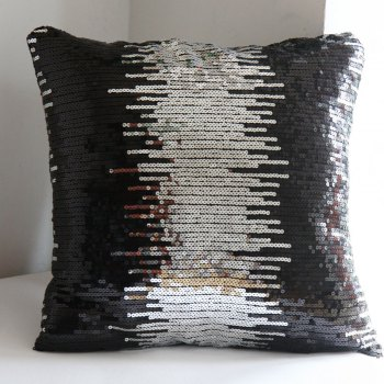 Lmdec 17HYZT03 Black Silver Sequins Pillowcase - BLACK + SILVER BLACK / SILVER