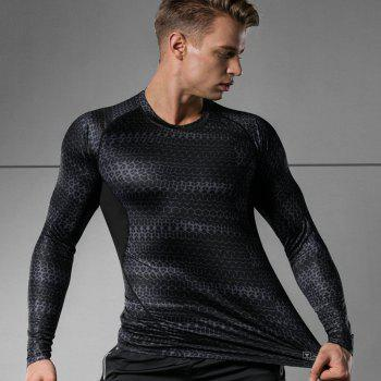 Hommes Base Professionnelle Sous Couche Gym Formation Courir Fitness Transpiration Séchage Rapide Sports Bottoming Shirts - Noir 3XL