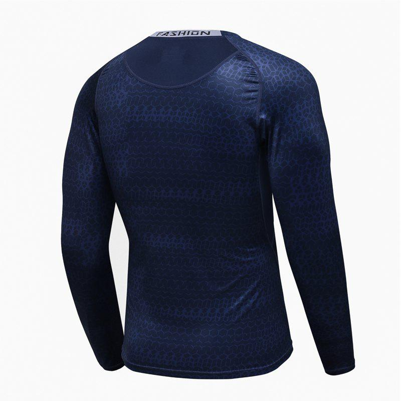 Hommes Base Professionnelle Sous Couche Gym Formation Courir Fitness Transpiration Séchage Rapide Sports Bottoming Shirts - Bleuet 2XL
