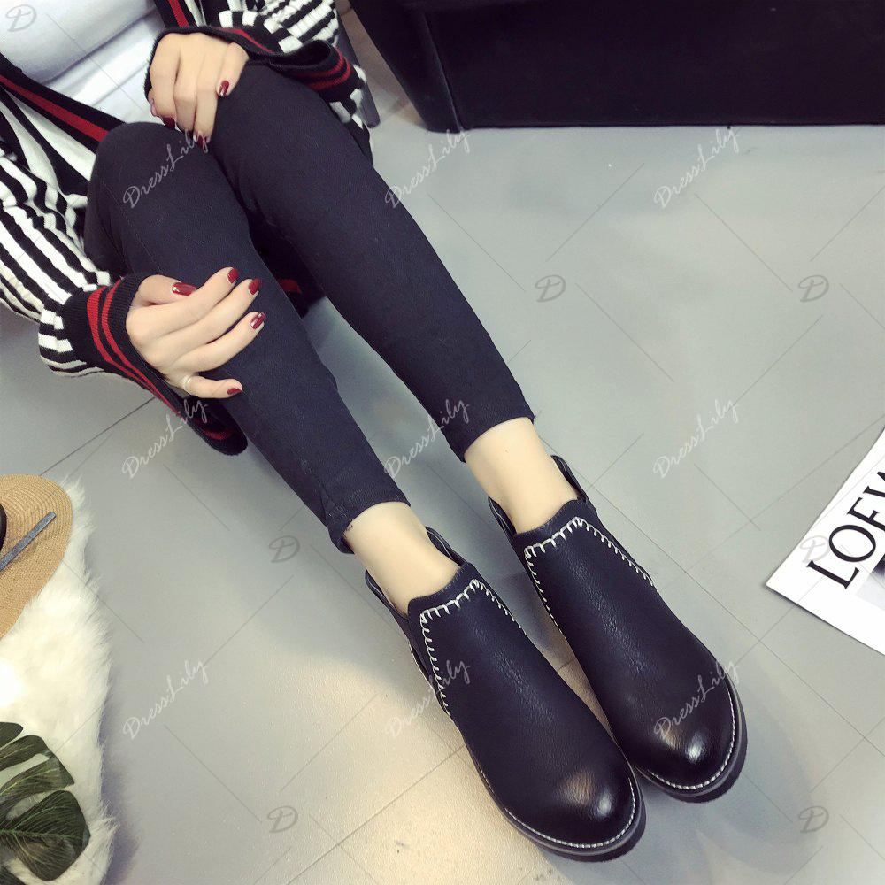 New Autumn and Winter Flat Head Round Color Wrist Boots - BLACK 36