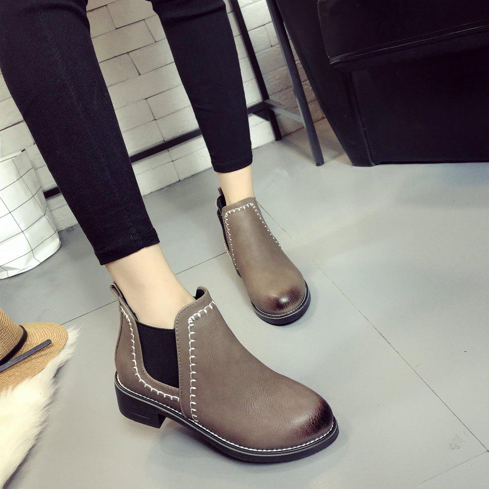 New Autumn and Winter Flat Head Round Color Wrist Boots - CAMEL 36