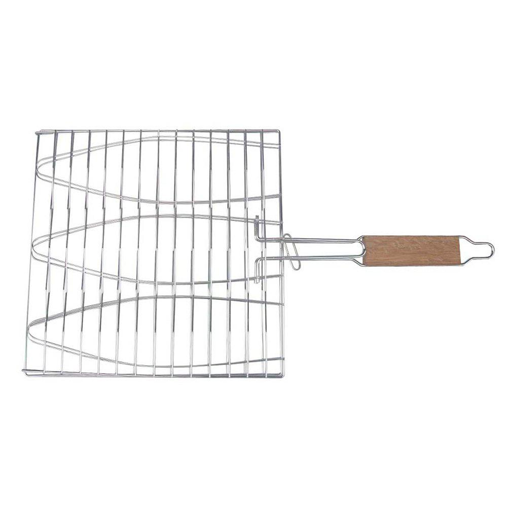 Stainless Steel Triple Fish Basket Outdoor / Indoor BBQ Net - SILVER