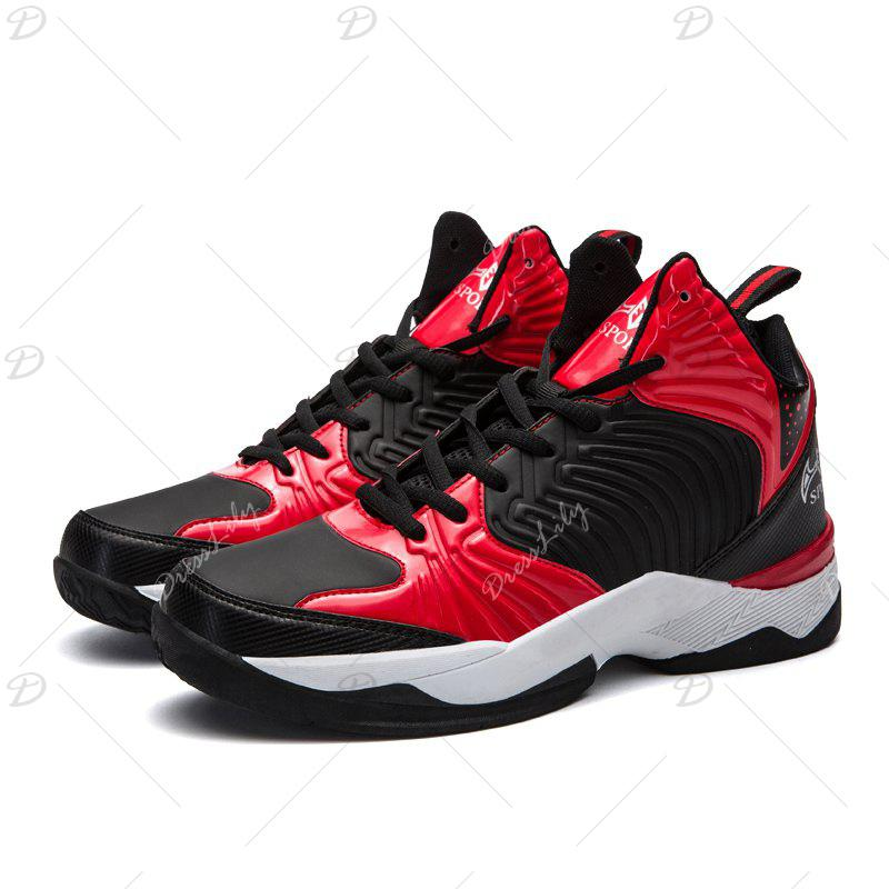 Men Casual Fashion Outdoor Lace Up Mesh Sport Bright Surface Shoes - RED 40