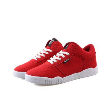 Men Casual Fashion Outdoor Lace Up Suede Warm Winter Shoes - RED 40