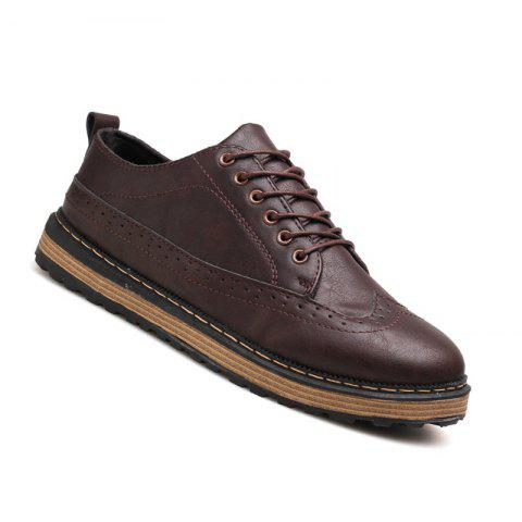 Men Casual Fashion Outdoor Lace Up Leather Business Shoes - WINE RED 40