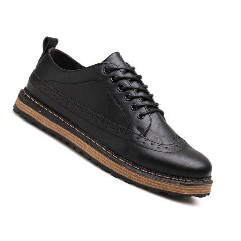 Men Casual Fashion Outdoor Lace Up Leather Business Shoes - BLACK 40