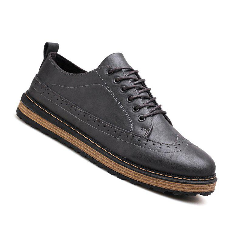 Men Casual Fashion Outdoor Lace Up Leather Business Shoes - GRAY 41