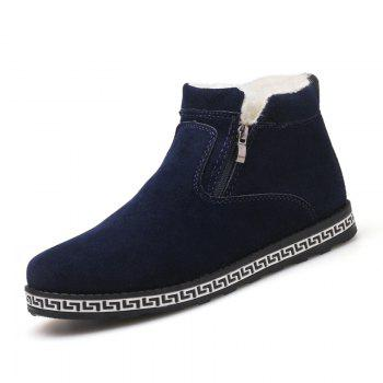 Men Casual Fashion Outdoor Suede Snow Winter Warm Ankle Boots - BLUE BLUE