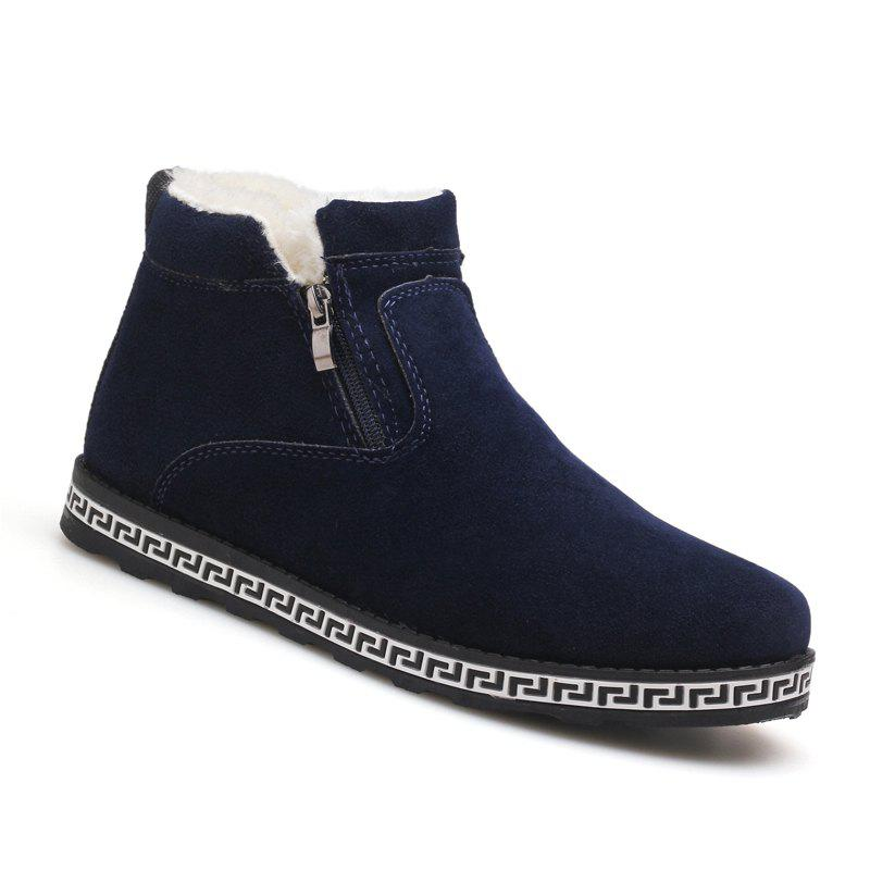 Men Casual Fashion Outdoor Suede Snow Winter Warm Ankle Boots - BLUE 43