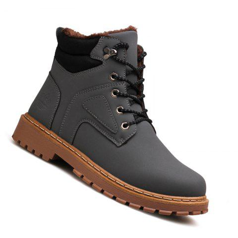 Men Casual Fashion Outdoor Suede Snow Winter Warm Leather Ankle Boots - GRAY 41