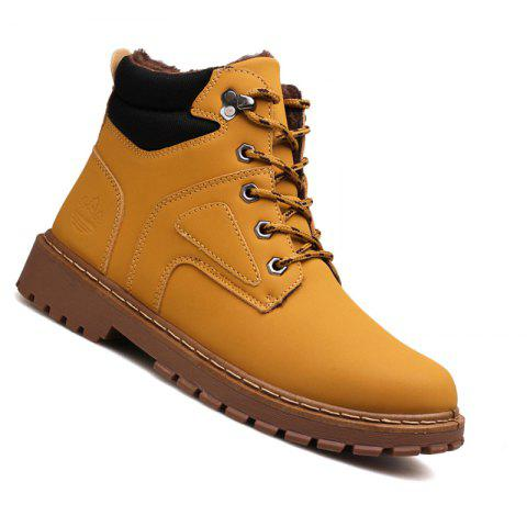 Men Casual Fashion Outdoor Suede Snow Winter Warm Leather Ankle Boots - BROWN 44