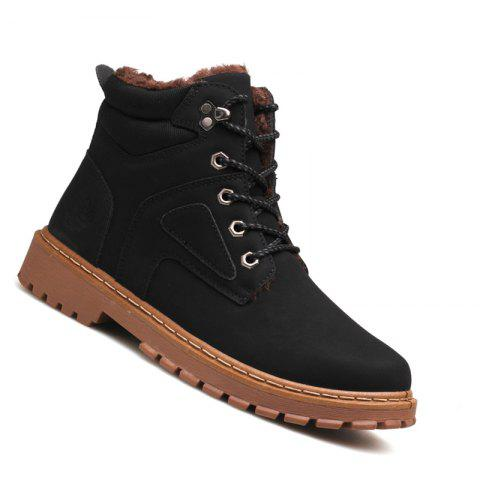 Men Casual Fashion Outdoor Suede Snow Winter Warm Leather Ankle Boots - BLACK 42