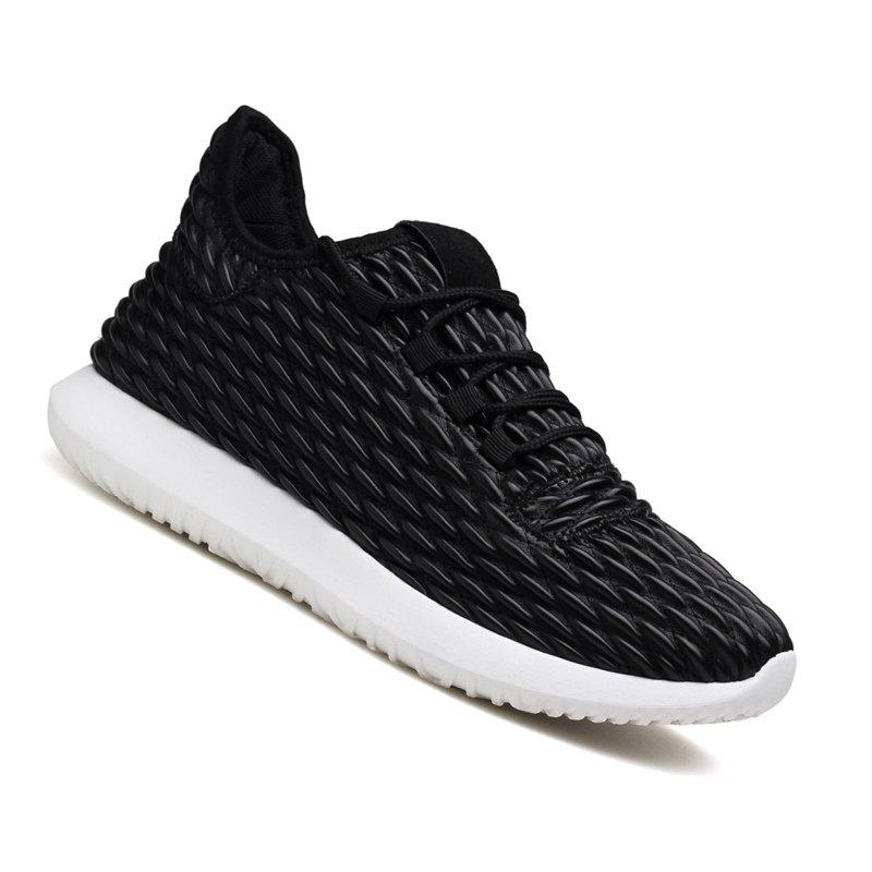 Men Casual Fashion Outdoor Breathable Light Running Shoes - BLACK WHITE 39