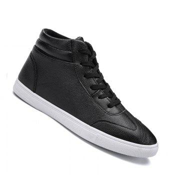 Men Casual Fashion Outdoor Leather Warm Comfortable Flat Ankle Boots - BLACK BLACK