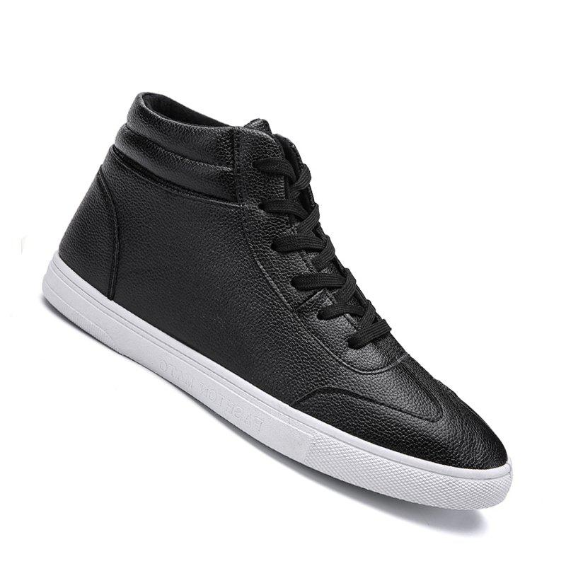 Men Casual Fashion Outdoor Leather Warm Comfortable Flat Ankle Boots - BLACK 41