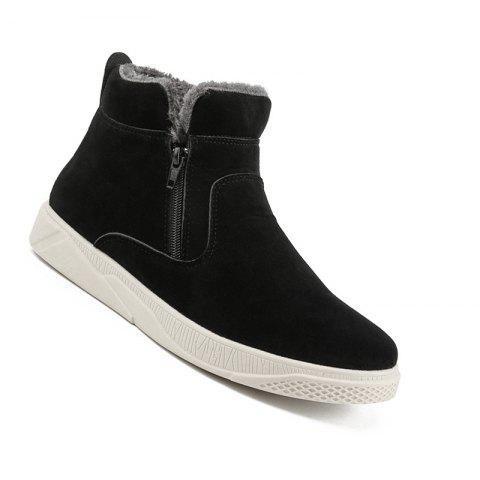 Men Casual Fashion Outdoor Leather Warm Comfortable Flat Suede Ankle Boots - BLACK WHITE 43