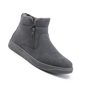 Men Casual Fashion Outdoor Leather Warm Comfortable Flat Suede Ankle Boots - GRAY GRAY