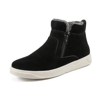 Men Casual Fashion Outdoor Leather Warm Comfortable Flat Suede Ankle Boots - BLACK WHITE BLACK WHITE