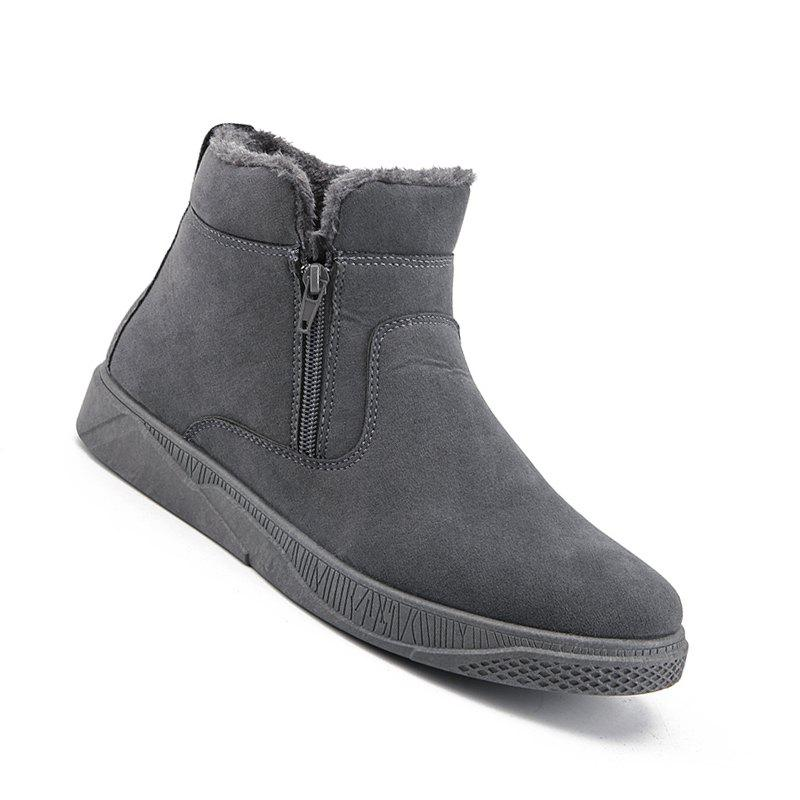 Men Casual Fashion Outdoor Leather Warm Comfortable Flat Suede Ankle Boots - GRAY 43