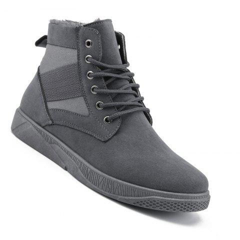 Men Casual Fashion Outdoor Leather Warm Winter Comfortable Flat Suede Ankle Boots - GRAY 40