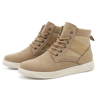 Men Casual Fashion Outdoor Leather Warm Winter Comfortable Flat Suede Ankle Boots - YELLOW YELLOW