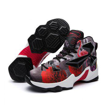 Men Casual Fashion Outdoor Leather Warm Basket Winter Flat Sport Ankle Boots - BLACK/RED BLACK/RED