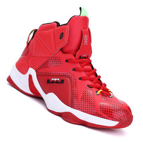 Men Casual Fashion Outdoor Warm Basket Leather Flat Sport Ankle Boots - RED 42