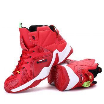 Men Casual Fashion Outdoor Warm Basket Leather Flat Sport Ankle Boots - RED RED