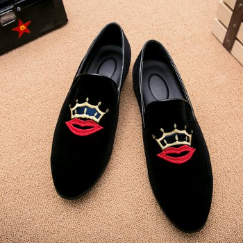 Men Casual Fashion Outdoor Loafers Slip on Smile Shoes - RED RED