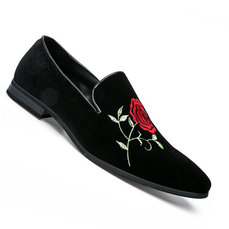 Men Casual Fashion Outdoor Loafers Slip on Flower Shoes - BLACK 40