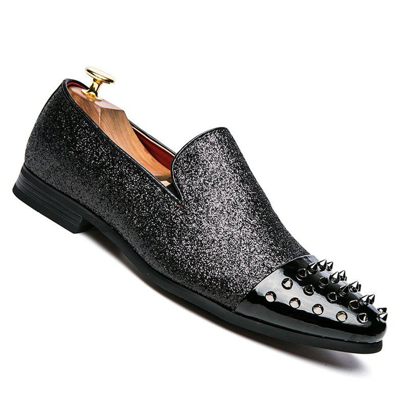 Men Casual Fashion Slip on Outdoor Inside Crystal Head Loafers - BLACK 39