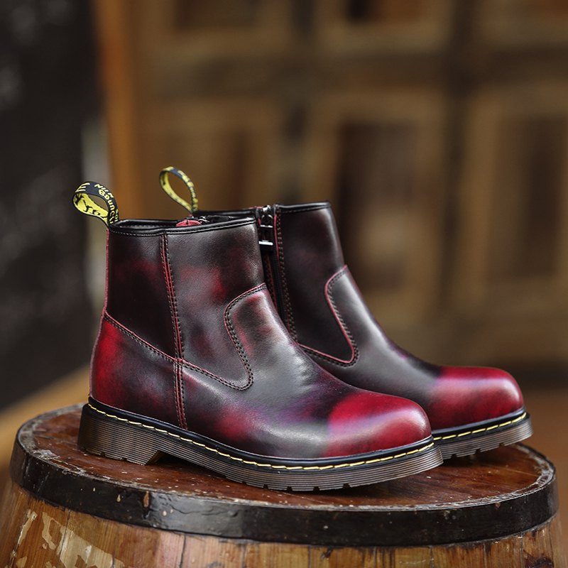 Couple High-Top Male Ankle Boots Anti-Slip Outdoor Sneakers Sports - WINE RED 36