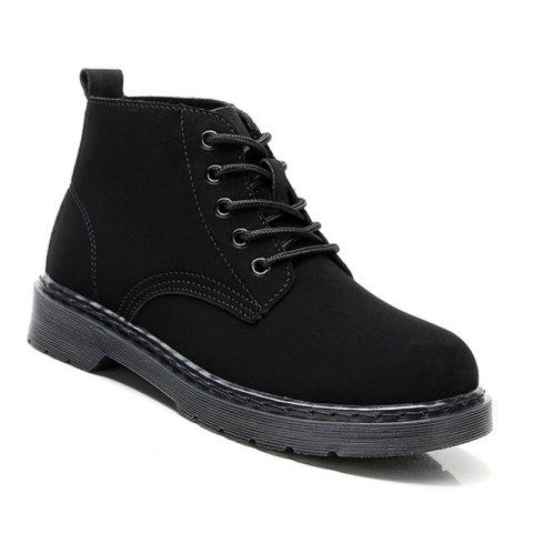 Suede Leather Couple Big Size High-Top Male Ankle Boots Anti-Slip Outdoor Sneakers Sports - BLACK 41