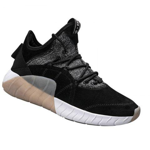 Men Athletic Shoes High-Top Rubber Sneakers Male Outdoor Professional Basketball Shoes Breathable Sports - BLACK 38